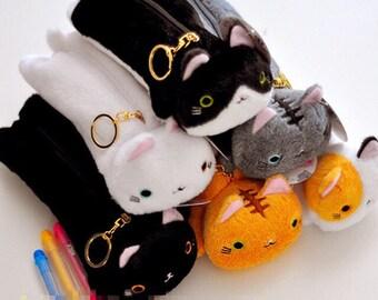 Soft plush cat keyring pencil bag x 1