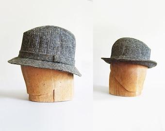 Vintage Gray Tweed Sherlock Style Fedora