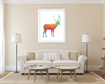 Geometric Deer Printable Art Print - Digital Files with Instant Download-Home Decor-8x10