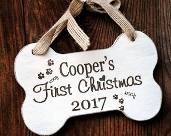 Custom Dog Ornament - Pet's First Christmas Ornament, Puppy Dog First, engraved pet ornament, custom pet gift for dog lover, pets ornament