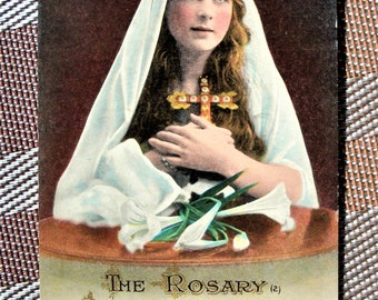 Vtg Postcard of English Girl - Praying the Rosary, #2