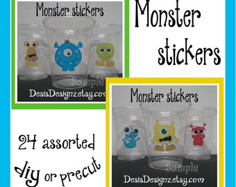 24 Monster Birthday Party stickers Monster baby shower decorations Party stickers Party cup stickers decals Monster favors  DIY or Precut