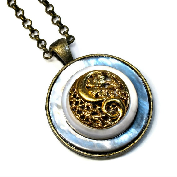 oval black buttonist button pendant