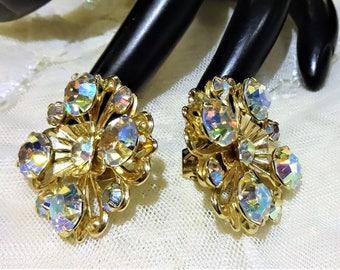 Pretty Vintage AB Rhinestone Floral Design Earrings