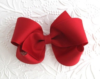 "Christmas Hair Bow, 4"" Red Boutique Hair Bow, Toddler Bows, Classic Red Hair Bow for Girls"