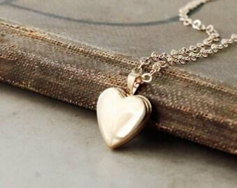 Gold Heart Locket necklace, gold filled, small photo locket, adjustable chain, Keepsake jewelry