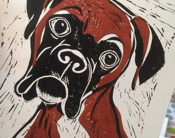 Boxer dog hand-pulled linocut print