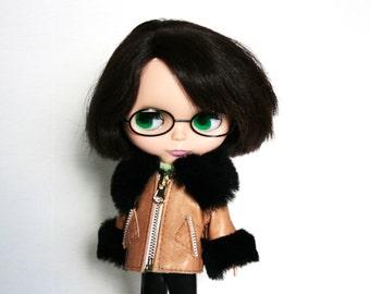 Blythe jacket Brown doll Jacket Leather blythe clothes Doll outfit Brown blythe doll cloth Brown doll outfit