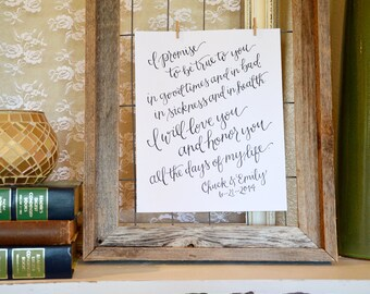 Handwritten Wedding Vows Art Print. Personalized Wedding Vow Keepsake. Unique Gift for Wife or Husband. Custom Anniversary Gift.
