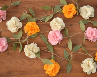 Felt Rose Flower Garland - Wedding Ceremony Backdrop - Nursery Floral Decor