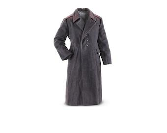Vintage Soviet Bloc Army Grey Wool Military Coat Genuine Greatcoat Full Length