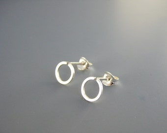 Open Circle Studs -  small round stud, sterling silver post earrings, nickel free jewelry