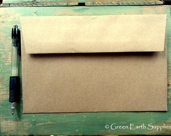 "25 A9 Kraft Envelopes: eco-friendly envelopes, recycled A9 envelopes, kraft brown, large rustic envelopes, 5 3/4"" x 8 3/4"" (146 x 222 mm)"