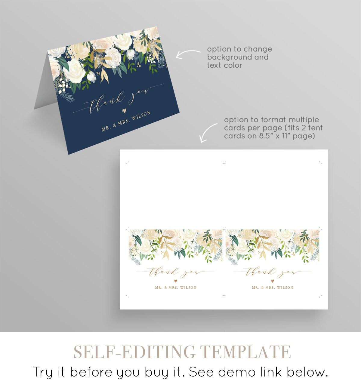 thank you card template printable wedding  bridal shower