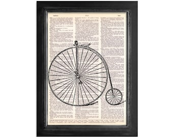 Victorian High Wheel Bicycle - Print on Vintage Dictionary Paper - 8x10.5