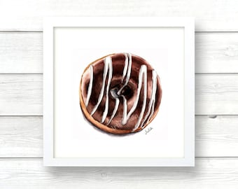 Donut print, wall art print, watercolor print