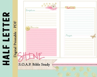 """HALF LETTER S.O.A.P. Bible Study Printable Planner Journal Refills / Inserts - PDF - 5.5 x 8.5  """"Shine in 2016"""""""