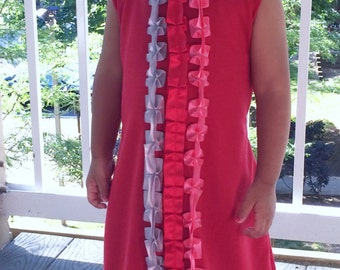 Solid red baby girl/ toddler ruffle sleeveless dress / Made to order
