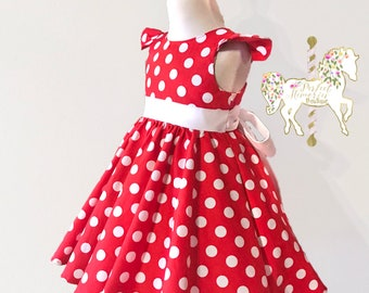 Minnie Mouse Dress | Classic Minnie Mouse | Red Minnie Dress | Red Polka Dot Dress | Disney Dress | Birthday Dress | Disney Vacation | Dress