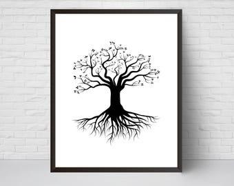 Tree with Roots Wall Art Print, Nursery art, House Decor, Printable Digital download, Black White Modern Printable art poster, Large print
