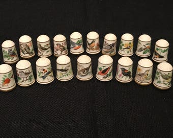 Limited Edition Song Birds of the World Thimbles by Franklin Porcelain 19 of 25 included