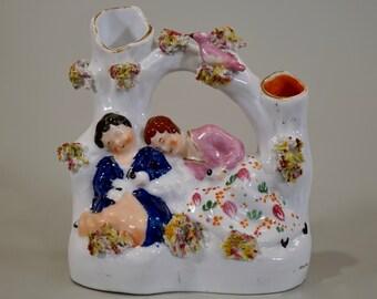 Antique Staffordshire Pottery Flatback Spill Vase