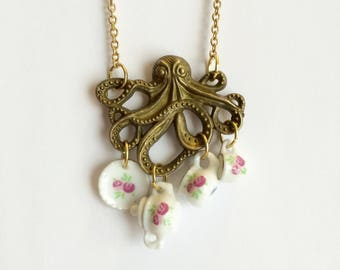 Octopus at Tea Necklace