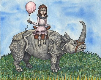 Little Girl With Balloon Riding A Rhinoceros Side-Saddle - Art Print - Watercolor Painting