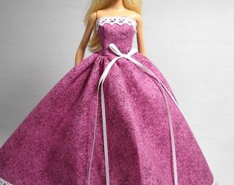 Barbie Doll Dress Handmade Pink Gown