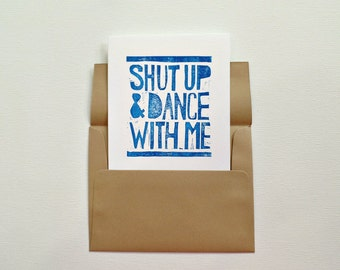 Cute I love you card for boyfriend, Shut up and dance with me cute cards, Anniversary card for husband, Romantic card, Love card for him