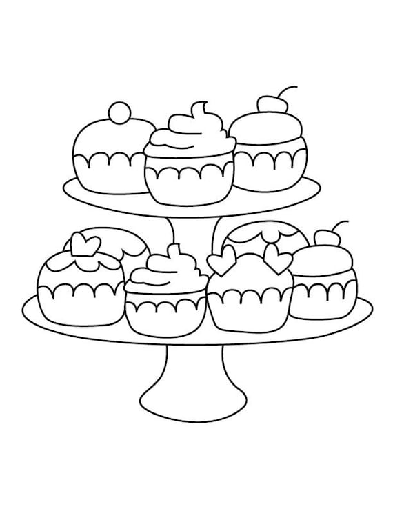 Cupcake Stand Coloring Page