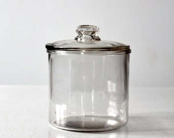MI Lola cigar humidor,  1920s clear glass jar,  tobacco jar