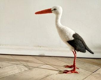 Needle felted Stork, Needle felted bird, Felt Stork, Stork sculpture, Stork figurine