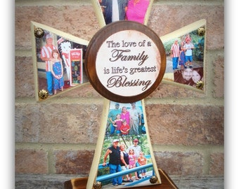 Cross - Wood Cross - Standing/Hanging PHOTO Cross - You choose the colors and plaque saying - holds up to 5 photos