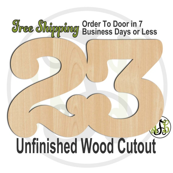 Single or Double Digit Number - 1004NoATB- Cutout, Numbers, unfinished, wood cutout, wood craft, laser cut, wood cut out, DIY, Free Shipping