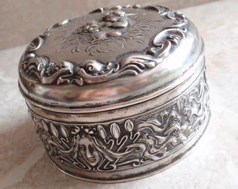 Art Nouveau Dresser Box Unger Bros Sterling Silver Hinged Repousse Love's Dream Vintage Antique 042216BKH