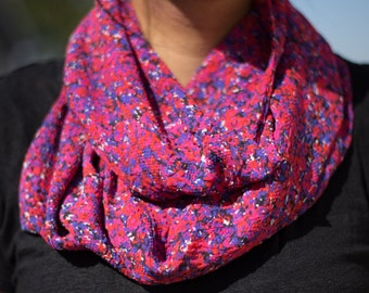 Sheer Pink, Blue, Purple, and Red Abstract Floral Print Infinity Scarf