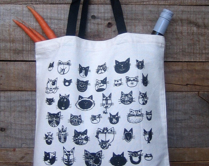 Cats Market Tote with Black Handles