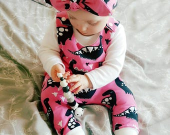 Pink Dino harem romper - baby girl romper - organic cotton - organic baby clothes - dinosaur - hot pink - all in one - dungarees - onesie