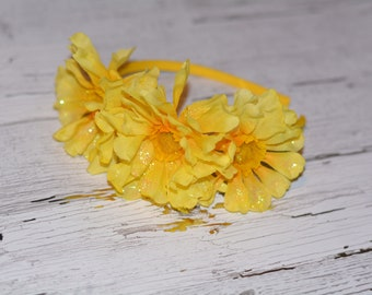 Headband with Yellow Glitter Flowers