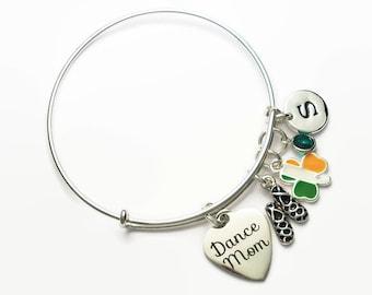 Irish Dance Mom Bangle Bracelet with Ghillies Shamrock Flag Swarovski Crystal and Letter Charms