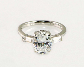 3.3ctw Cubic Zirconia Engagement Ring - CZ Wedding Ring - 3 Stone Ring - Oval Cut - Promise Ring - CZ Ring - Sterling Silver