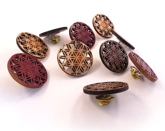 10 Pack of Flower of Life Wooden Hat Pins - READY TO SHIP - Sustainably Harvested Oak, Walnut or Red Stained Maple Wood - Bulk for vendors