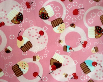 "SALE - One, 35"" Piece of Fabric Material - Tossed Cupcakes Pink"