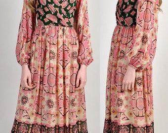 stunning 1970's vintage bohemian  paisley dress                               H13