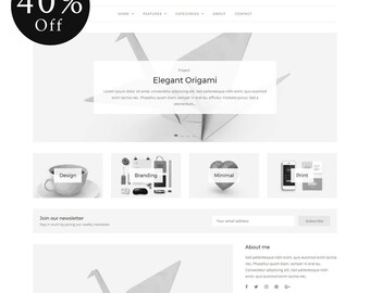 40% OFF! Grace - Minimal WordPress Blog Theme - Responsive WordPress theme - Website template