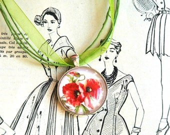 poppies and Green Ribbon Locket necklace