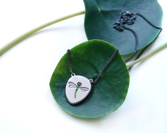 Small dragonfly pendant, in silver with green resin
