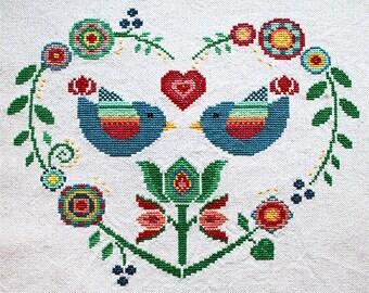 Cross stitch pattern, heart needlepoint, birds sampler, folk art