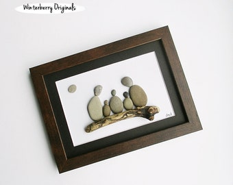 "Pebble Art: Family of 5 on Driftwood-6"" x 8"" brown frame, black mat, original wall art, engagement gift,stone art, rock art, personalize it!"